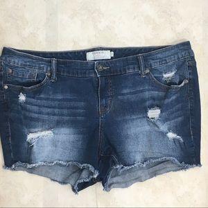 Torrid Distressed Raw Hem Jean Shorts